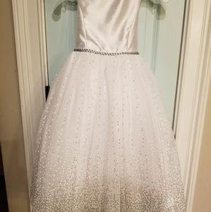 White formal David's Bridal flower girl dress